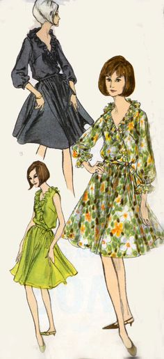 Vintage 60s Vogue 6394 MADMEN Dress and Slip with by sandritocat, $24.00
