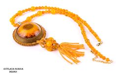 Real flower jewelry Flower Necklace Yellow Orange pendant-necklace Statement necklace boho necklace beaded resin necklace Nature Inspired - pinned by pin4etsy.com