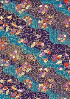 Red Blue Gold and Purple Fans Japanese Yuzen Chiyogami Washi Paper Sheet 23 x 15 cm x 6 inches) - - Japanese Origami, Japanese Paper, Japanese Fabric, Japanese Textiles, Japanese Prints, Japanese Design, Chinese Patterns, Japanese Patterns, Blue Gold