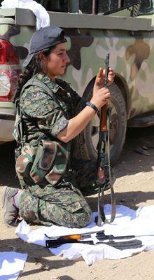 Kurdish militia member Akina Akin - Young women taking aim at ISIS -- you go girls!!!!