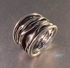 Sterling Ring Band Organic Waves Oxidized by LynnHislopJewels
