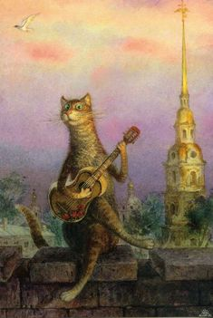 "Illustration by Vladimir Rumyantsev. Russian artist. Series ""St.Petersburg's cats"""