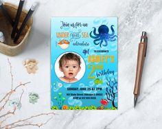 Under the Sea Birthday Invitation, Ocean Birthday, Sea Adventure, Pool Birthday Party, Any Age, PRINTABLE by TDApartyonpaper on Etsy https://www.etsy.com/listing/505226652/under-the-sea-birthday-invitation-ocean