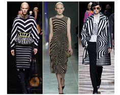 F/W 2014.15 trend:  Noir et blanc optique Cadavres exquis géométriques, motifs façon rorschach, effets en trompe l'œil... En noir et blanc, les imprimés de la saison agissent comme des miroirs réfléchissants à l'infini, pour produire d'insoupçonnables combinaisons d'images et d'illusions d'optique.
