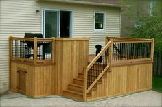 Patio one floor Cedar Cabin, Cedar Deck, Outdoor Wood Projects, Outdoor Decor, Outdoor Stuff, Deck Skirting, Patio Deck Designs, Decks And Porches, Pool Decks