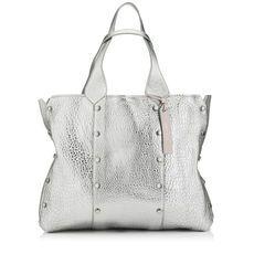 dee58668a66 Platinum Metallic Grainy Leather Tote Bag