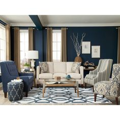 Blue Living Room Decor - What colors go with navy blue? Blue Living Room Decor - What colors go well with sky blue? Blue Living Room Decor, Living Room Color Schemes, Coastal Living Rooms, Formal Living Rooms, New Living Room, Interior Design Living Room, Living Room Designs, Living Room Furniture, Navy Blue And Grey Living Room