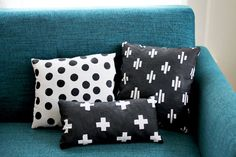 Hand Printed Pillow Collection DIY by A Beautiful Mess