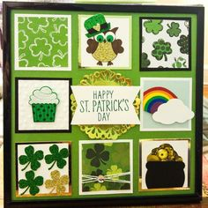 Patrick's Day sampler - using a little bit of everything especially Stampin' Up! Box Frame Art, Shadow Box Frames, Collage Frames, Collages, Flower Shadow Box, Candy Cards, Calendar Design, Punch Art, Stamping Up