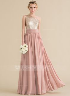 9b05dee2ab4 A-Line Princess One-Shoulder Floor-Length Chiffon Sequined Bridesmaid Dress  (