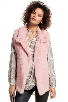 Pink rabbit fur vest