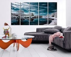 LARGE CANVAS ART - White Forest and Blue Lake in Winter Art Canvas Printing - W1