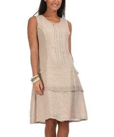 Beige Angele Linen Dress $49.99 by Zulily