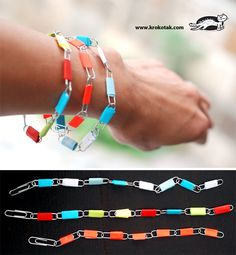 Paperclip bracelets:  (Some) older kids would find this interesting. :0