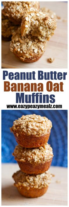 Peanut butter and banana combine with a tasty oat crumble to make these easy and satisfying muffins. PERFECT for on-the-go breakfast! - Eazy Peazy Mealz