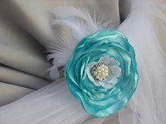 turquoiseaquawhite feathers and lace ivory pearls by MyFlowerWorld, $21.00