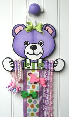 Teddy Bear Bow Holder / Hand Painted and by MaGooseMercantile