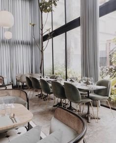Dusty green Beetle Chairs perfectly match the airy and light-filled space of @harlanholdendine restaurant - an interior project by…