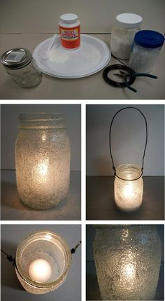 DIY Icicle Mason Jars  maybe less of the ice effect, but good idea for mason jar candles...