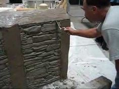 Plastic mold used to create brick texture.  This would be wonderful to use in the garden for permanent raised bed construction.  Decorative Concrete Simulated Stone Masonry - YouTube