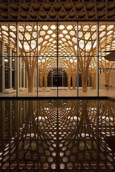 timber columns and a glass curtain wall, Haesley Nine Bridges Golf Clubhouse : Kyeong Sik Yoon, Shigeru Ban Architecture Durable, Architecture Design, Gothic Architecture, Amazing Architecture, Contemporary Architecture, Classical Architecture, Ancient Architecture, Sustainable Architecture, Landscape Architecture