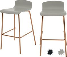 Set of 2 Syrus Barstools, Grey and Copper from Made.com. Grey/Copper. NEW Friday night plans? Staying at home with Syrus. Use this set of two bar st..