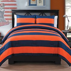03d6a12a4a5 Bring a classic yet sporty look to your young man s bedroom with the  handsome Rugby Comforter Set. Decked out in bold rugby stripes