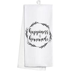 Occasionally Made 'Happiness is Homemade' Kitchen Towel (420 DOP) ❤ liked on Polyvore featuring home, kitchen & dining, kitchen linens, cotton kitchen towels and cotton tea towels