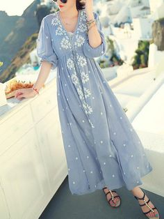 Shop Blue V Neck Embroidered Drawstring Dress online. SheIn offers Blue V Neck Embroidered Drawstring Dress & more to fit your fashionable needs.
