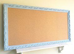 Huge CORK BOARD Blue Framed Bulletin Board Home School