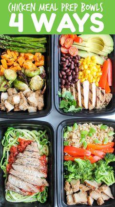 Chicken Meal Prep Bowls: 4 Ways - easy meal prep recipes for chicken. The perfect healthy recipes for busy weeks!