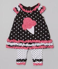 Black Ice Cream Ruffle Tunic & White Leggings - Infant