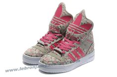 Girl Adidas X Jeremy Scott Big Tongue Shoes Grey Pink For Sale