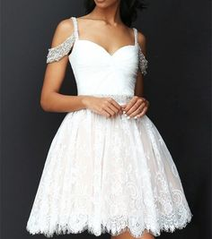 Elegant Lace Spaghetti Straps Homecoming Dress,Off The Shoulder Mini Party Evening Dress with Beading