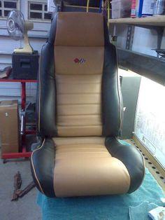 MrMikes Leather Corvette Seat Upholstery  Fiero seats for '72 Corvette Vetter style Black & Dark Tan Up & Over 2-tone Vette #3 Logos Dark Tan edge welts