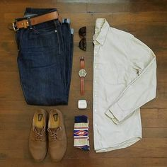Stylish Grid by @rather__dashing Follow @stylishgridgame Brands ⤵ Shirt: @jcrew Jeans: @copinsportswear Shoes: @clarksshoes Socks: @bodyglove53 Watch + Strap: @timex + @redwingheritage Sunglasses: @persol Fragrance: @fultonandroark
