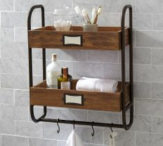 Pottery Barn's bathroom storage solutions are perfect for organizing any bathroom. Find medicine cabinets and bathroom shelves and create a spa retreat at home. Wood Bathroom, Bathroom Shelves, Bathroom Furniture, Bathroom Storage, Industrial Bathroom, Bathroom Cabinets, Organized Bathroom, Industrial Pipe, Downstairs Bathroom