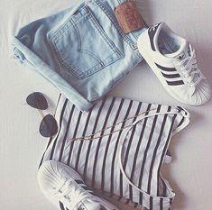 Stripes TshirtDenim Shorts