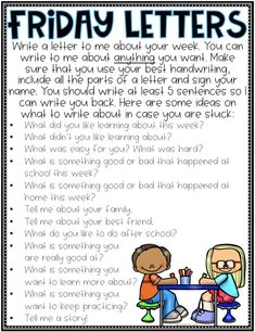 Classroom writing - A New Way To Connect With Students Friday letters are mine and my students FAVORITE part of the week Whenever students start telling me a story and I can tell we might not have time for it, inste… Writing Lessons, Teaching Writing, Writing Activities, Math Lessons, Babysitting Activities, Teaching Ideas, 5th Grade Activities, Fun Classroom Activities, First Day Of School Activities