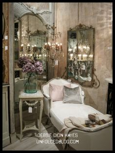 Gilded walls and pink accents; High Point Market.