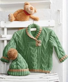 Sweater and Hat with Cable Pattern, S8653 - Free Pattern