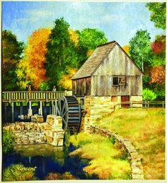 """""""Stuart Grist Mill,"""" by Richard L. Vincent of Cranston"""