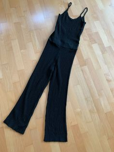3fcfdbca1d3 MICHA LOUNGE Black Knitted Spagetti Strap Jumpsuit Size UK 6  fashion   clothing  shoes