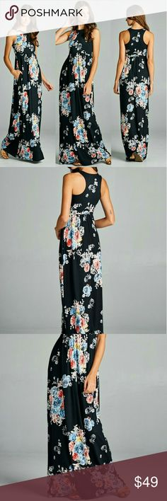 SALE LAST TWO Spring Bouquet Maxi Dress Description: Racer Back Floral Maxi Dress with Side Pocket | Made in: USA Dresses