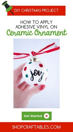 Looking for some inexpensive DIY personalized ornaments for your Christmas tree? Check out how to apply adhesive vinyl on ceramic or heat transfer vinyl on wood with your Cricut cutter with this step by step tutorial from Christmas Vinyl, Christmas Ornaments To Make, Christmas Projects, Christmas Tree, Holiday Crafts, Christmas Decor, Vinyl Crafts, Vinyl Projects, Diy Craft Projects