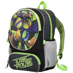 "Teenage Mutant Ninja Turtles 16"" Backpack Green ($35) ❤ liked on Polyvore featuring bags, backpacks, day pack backpack, knapsack bag, daypack bag, green bag and backpack bags"