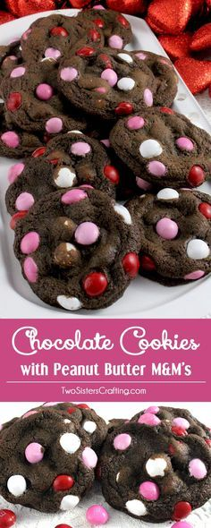 These festive Chocolate Cookies with Peanut Butter M&M's are a unique take on traditional Chocolate Crinkle Cookies and they will make a great Valentine's Day Treat for your family. This is a great Valentine's Day Cookie that is easy to make and tastes great too! Follow us for more fun Valentine's Day Food ideas.