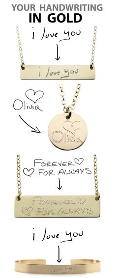 Your Handwriting In Gold!  Custom Handwriting Necklaces 14K Gold Filled.