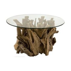 Driftwood Glass Top Coffee Table #nature #decor