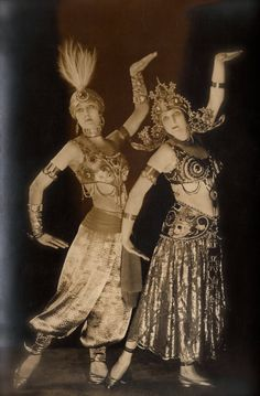 RARE 1920s Art Deco French Ballets Russes Mysterious Duo Egyptian Pose in Elaborate Exotic Costumes & Headdress Original Real Photo Postcard RPPC
